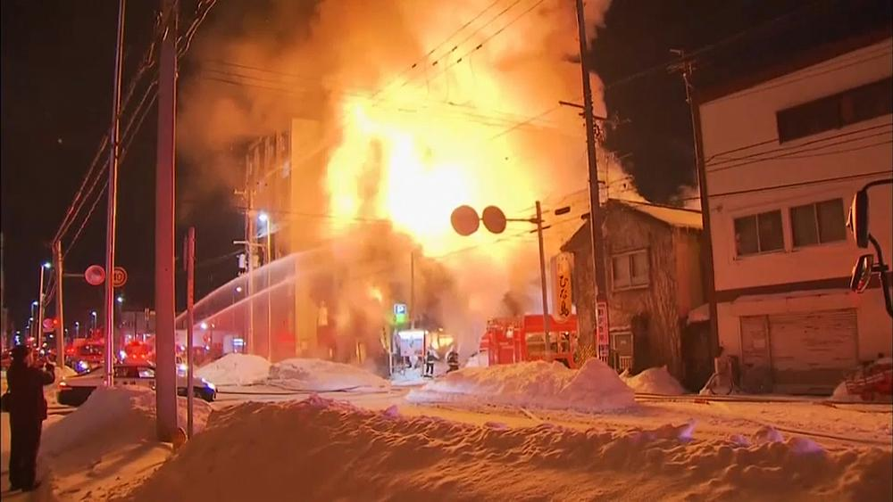 Пожар в японском городе Саппоро (видео)