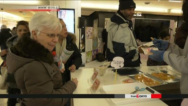 Губернатор японской префектуры Фукусима рекламирует фермерскую продукцию из этой префектуры в Париже