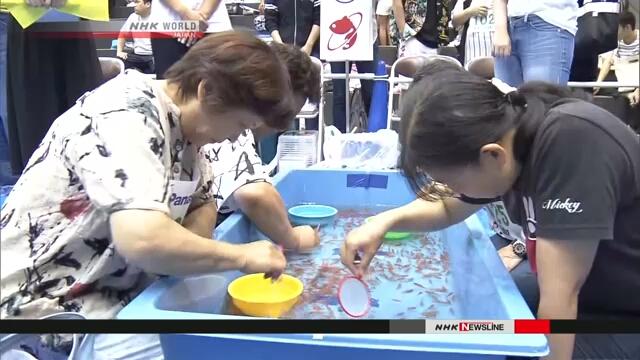 Участники конкурса в префектуре Нара состязались в извлечении из воды золотых рыбок