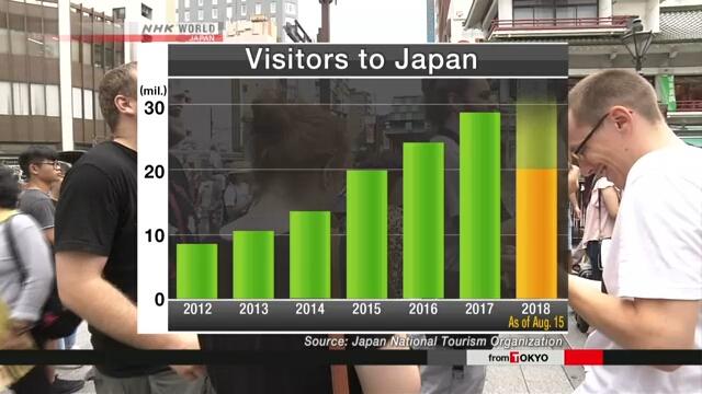 Японию в этом году посетили уже 20 млн иностранных туристов