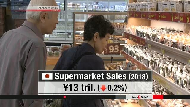 Ежегодный объем продаж в супермаркетах по всей Японии снизился третий год подряд